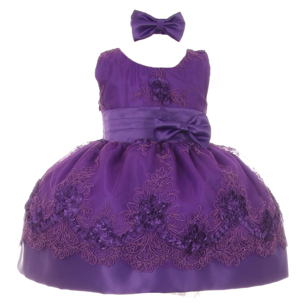 Baby Girls Purple Floral Pattern Accent Occasion Flower Girl Dress 3M