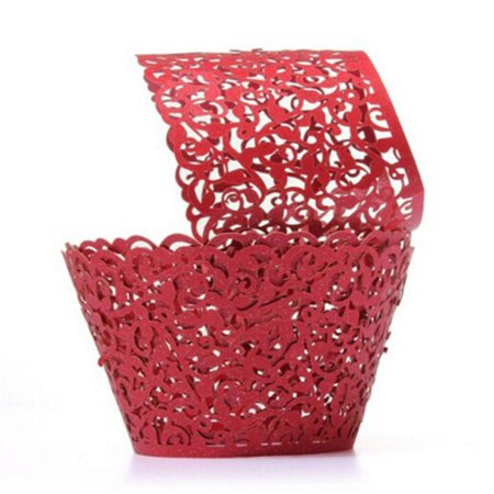 50pcs Cupcake Wrappers Filigree Vine Lace Cup Wrap Liners Wedding Party Decor Red (Spanish Tile Cupcake Wrapper)