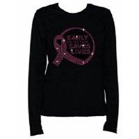 Rhinestone Rhinestone Womens T Shirt Breast Cancer Sign JRW-094 - S / Womens Long Sleeve Crewneck T-Shirt
