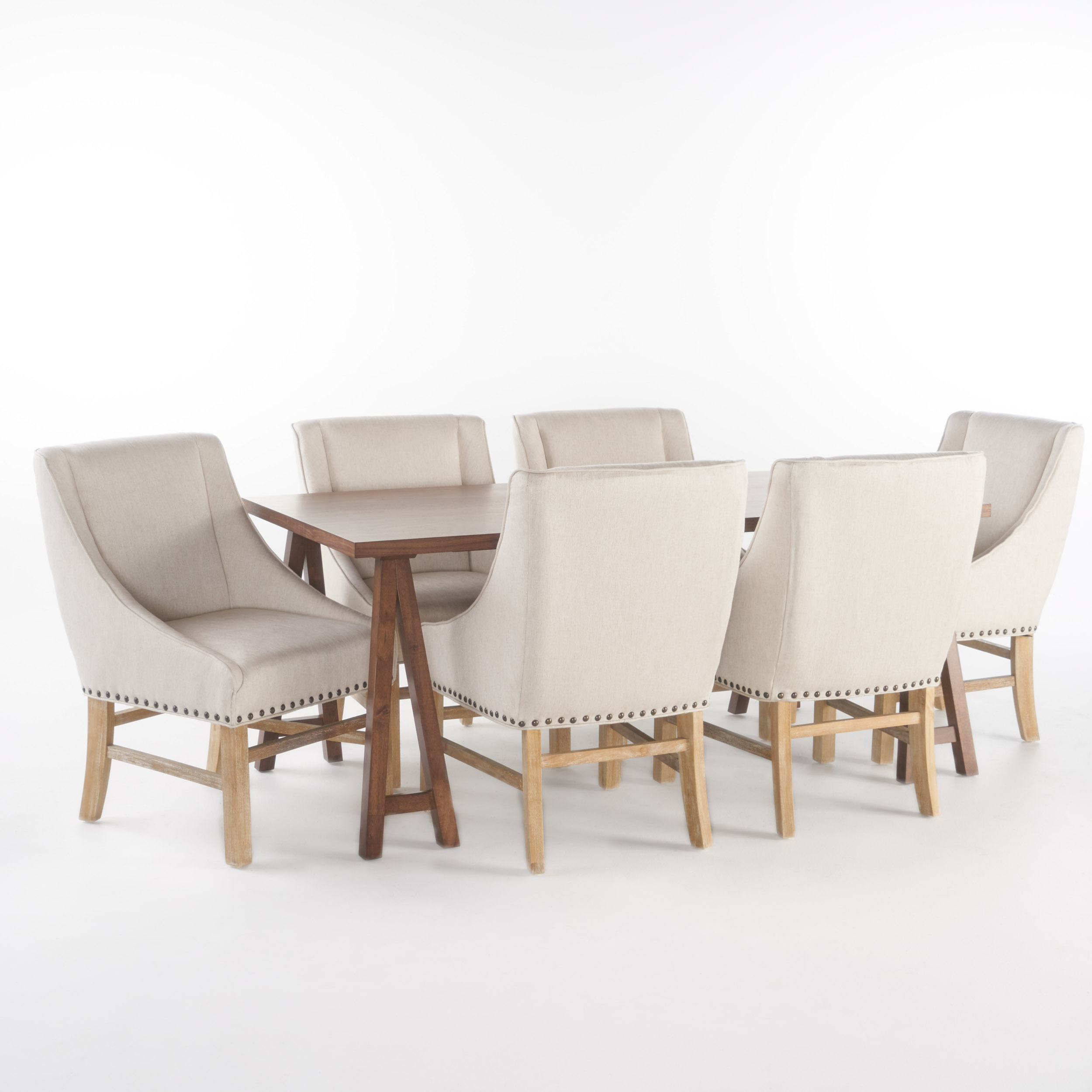 Sabrina Farmhouse 7 Piece Dining Set with Linen Fabric Dining Chairs, Natural Walnut