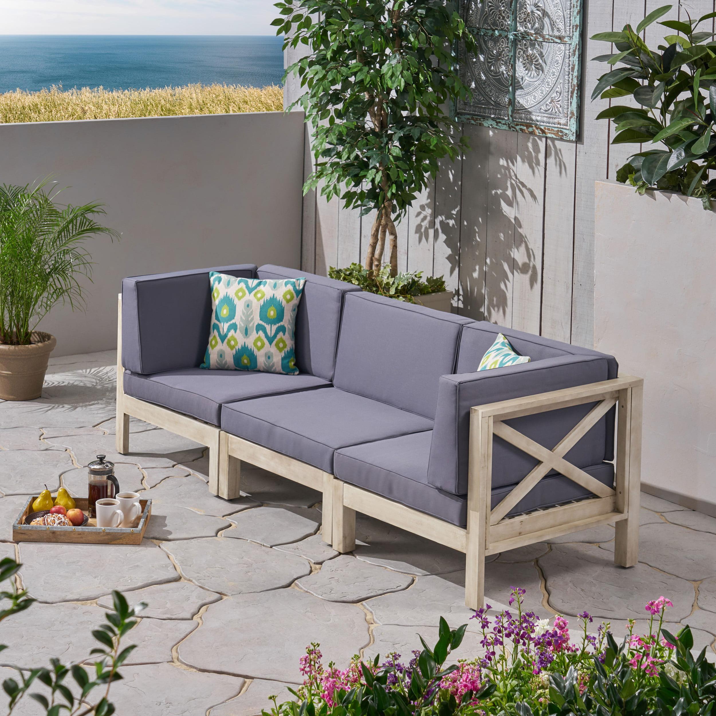 Elisha Outdoor Modular 3 Piece Acacia Wood Sectional Sofa Set with Cushions, Weathered Gray, Dark Gray