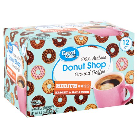 Great Value 100% Arabica Donut Shop Coffee Pods, Medium Roast, 12