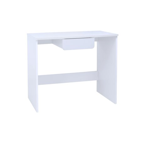 Haifa Home & Office Workstation Computer Desk, White Wood, With Storage Drawer,