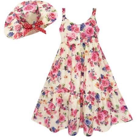 Sunny Fashion Girls Dress Full Length Flower Print With Hat Flower Pink Size 7 14