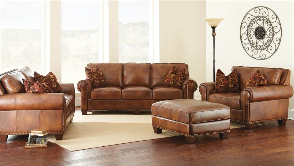 Steve Silver Silverado Leather Sofa With 2 Accent Pillows   Caramel Brown    Walmart.com