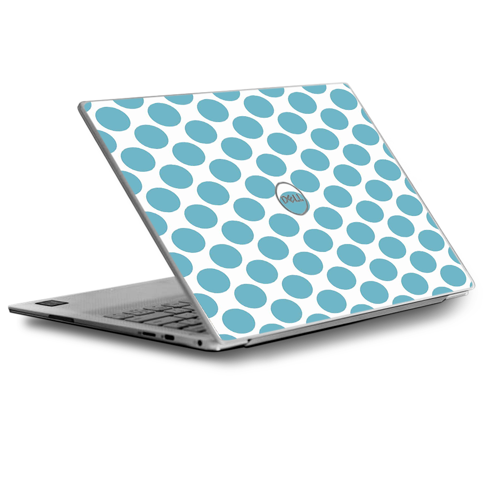 Skins Decals for Dell XPS 13 Laptop Vinyl Wrap / Teal Blue Polka Dots