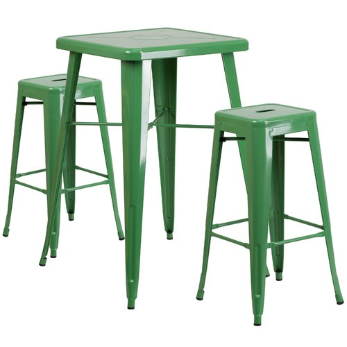 Flash Furniture Metal 3 Piece Bar Table Set in Green