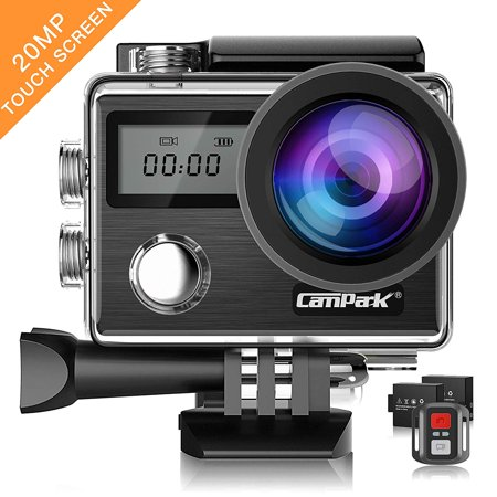Action Camera Campark X20 4K 20MP Touch Screen Waterproof Video Cam Sony Sensor Underwater Camcorder with EIS, Dual Screen, Remote Control Update Version ()