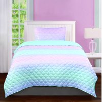 Tadpoles Girls Mermaid Pattern Quilt Set, Iridescent Metallic