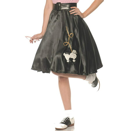 Women's 50s Black Satin Poodle Skirt - Womens Poodle Skirt
