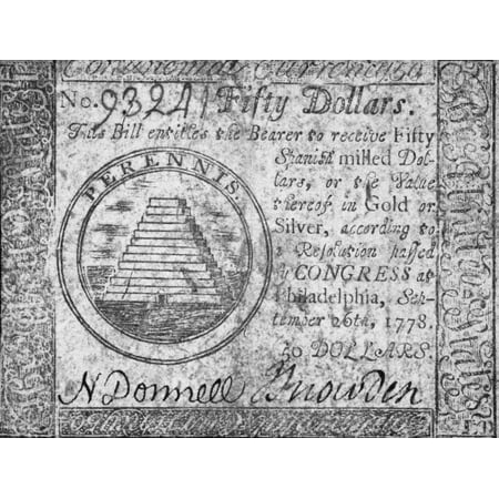 Continental Currency 1778 Nunited States Continental Currency Fifty Dollar Banknote 1778 Rolled Canvas Art -  (24 x