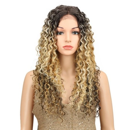 Noble 30 Inches Synthetic Curly Wigs Blonde Brown Colors Long Afro Kinky Curly Hair Middle Part Lace Front Wig