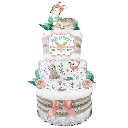 Doe 3-Tier Diaper Cake - Oh Deer - Baby Shower Gift for a Girl - Mint Blush and Burlap Lace Diaper Cake Shower