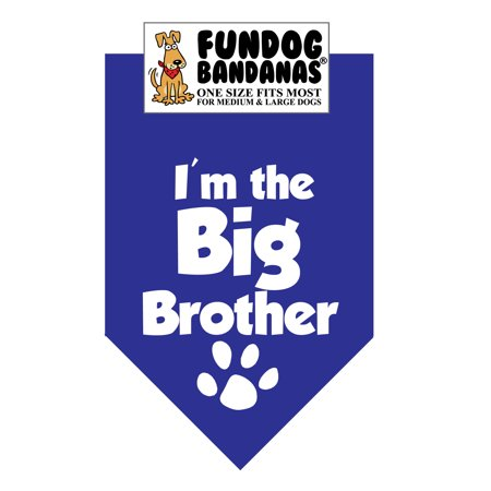 - Fun Dog Bandana - I'm the Big Brother - One Size Fits Most for Med to Lg Dogs, royal blue pet scarf