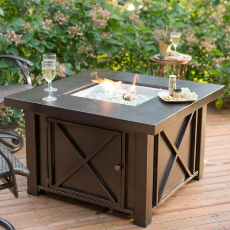 Hiland Decorative Fire Pit Hammered Bronze Finish