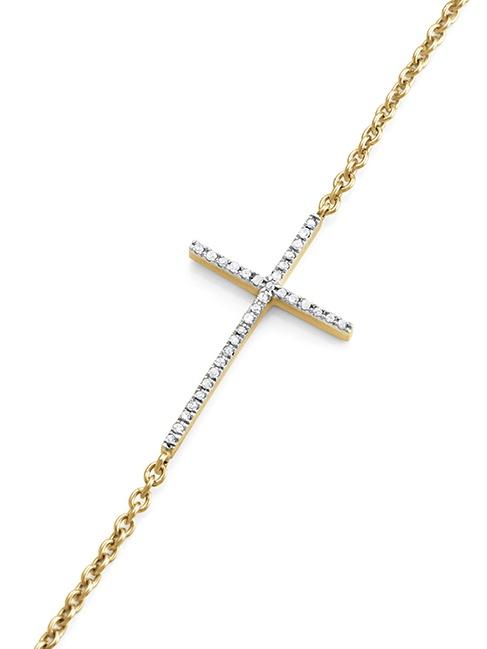 0.10 Carat Diamond Stackable Cross Bracelet 14K Yellow Gold Over Sterling Silver