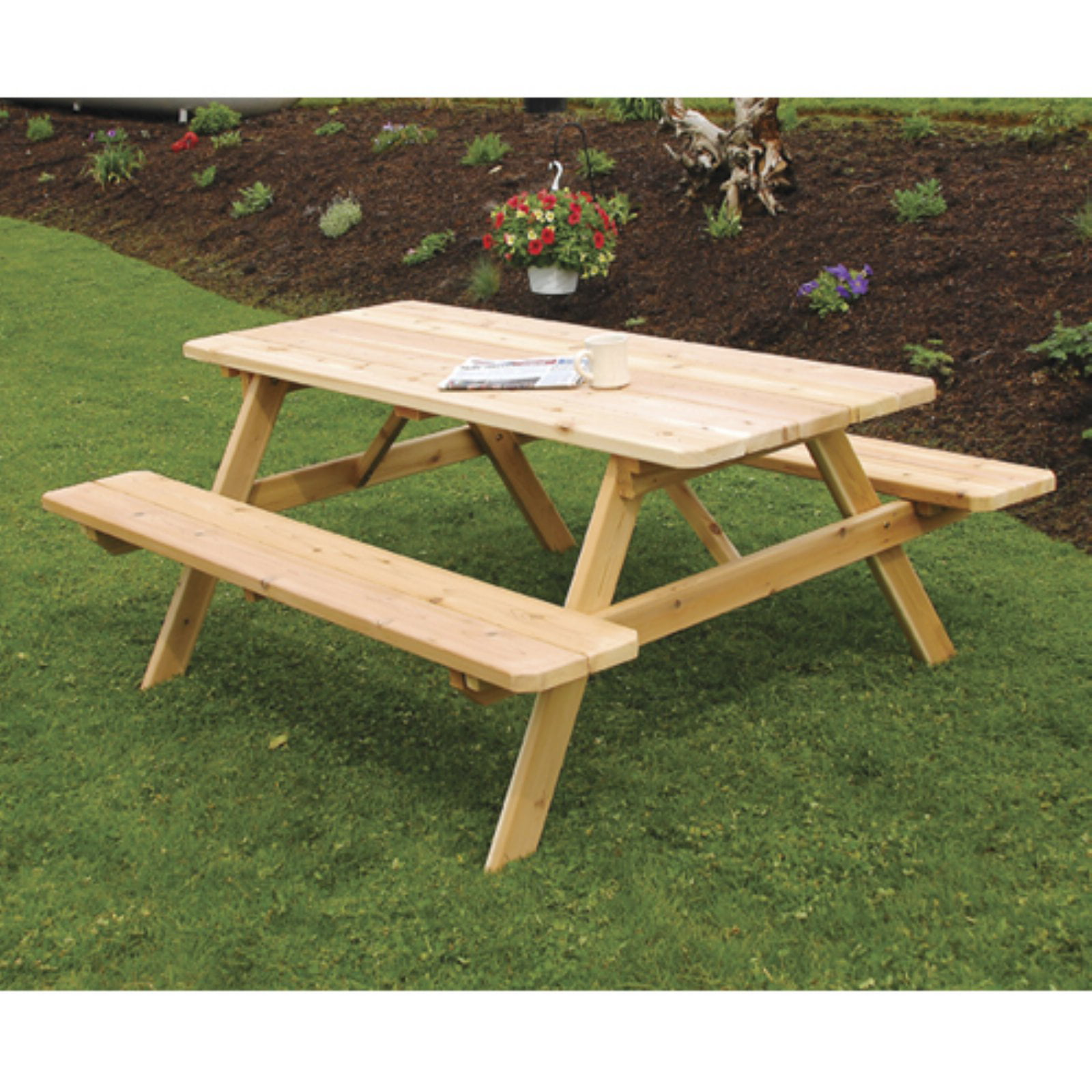 A & L Furniture Western Red Cedar Picnic Table with Attached Benches by A and L Furniture Co