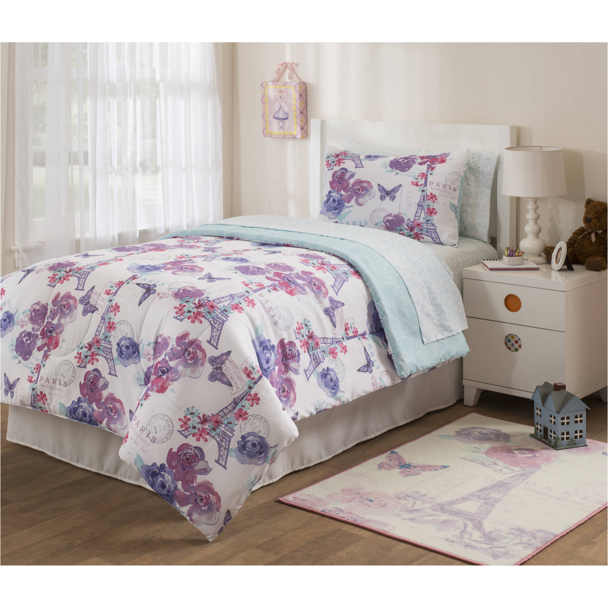 Mainstays Kids Paris Lavender Bed In A Bag Bedding Set