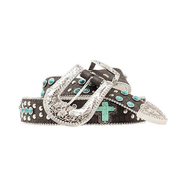 1.5 in. Womens Turquoise Studded Cross Belt, Black - Large - image 1 of 1