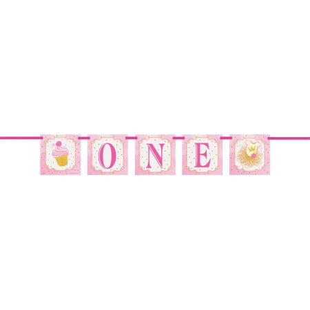 (3 Pack) 4ft Pink and Gold Girls First Birthday Banner