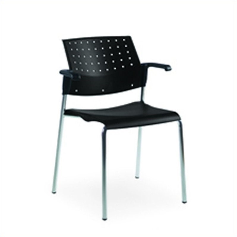 Global Sonic Stacking Chair with Arms in Black