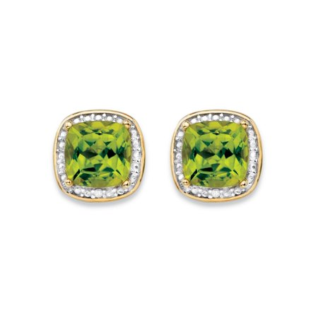 2.80 TCW Genuine Yellow Peridot and Diamond Accent Pave-Style Halo Stud Earrings in 14k Gold over Sterling Silver