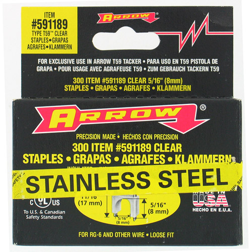 "Arrow Fastener Co. 591189SS 5/16"" X 5/16"" Black T59 Stainless Steel Staples"