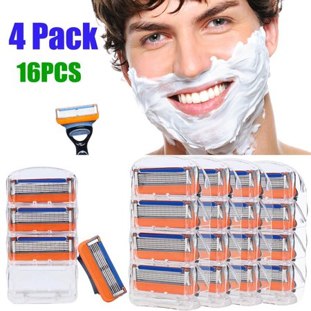 16Pcs 4 Pack Men's Shaver Cartridges for Gillette Fusion 5-layer Razor Blade