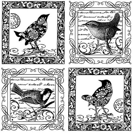 "Crafty Individuals Unmounted Rubber Stamp, 4.75"" x 7"", 4 Little Songbirds"
