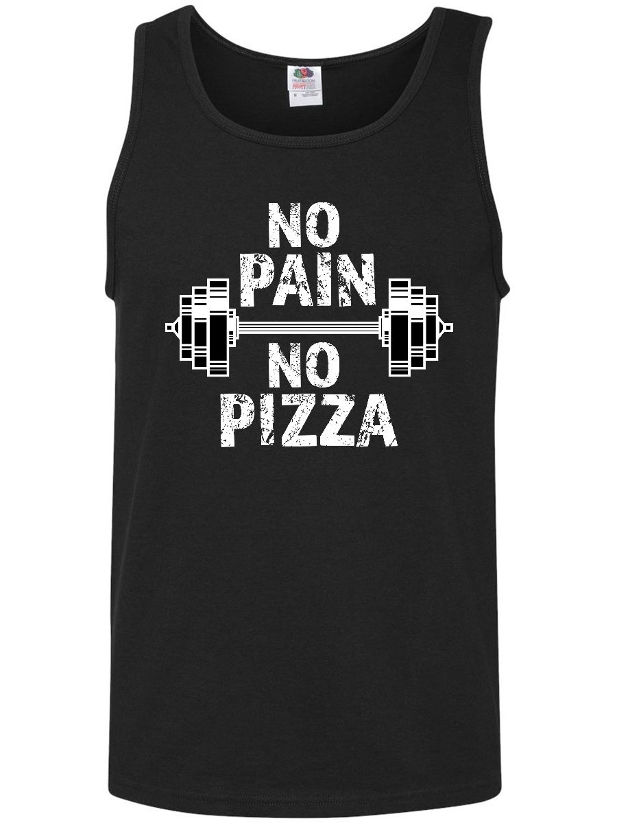 No Pain No Pizza with Weights Funny Exercise Men's Tank Top