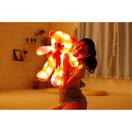 Shengshou Plush Luminous Glow Cartoon Teddy Toy Bear,7 Color Changing, Tap Switch,Removable Easy Wash,Child Girlfriend Valentine Christmas Birthday Gift, 23.6 (Glow In The Dark Winnie The Pooh Teddy)