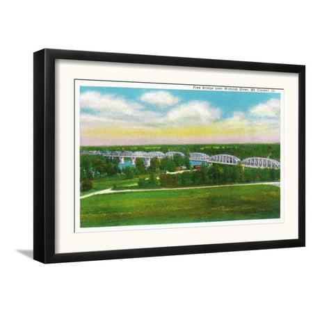 Mount Carmel, Illinois, Panoramic View of the Free Bridge o... Framed Art Print Wall
