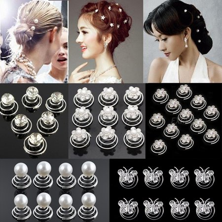 12pcs Clear Crystal Flower Swirl Hair Twists Coils Spirals Hair Pin Clip Accessories (Best Twists For Natural Hair)
