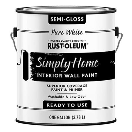 Rust-Oleum 332120 Simply Home Semi-Gloss PURE WHITE Interior Wall Paint (Rust Oleum Gallon)
