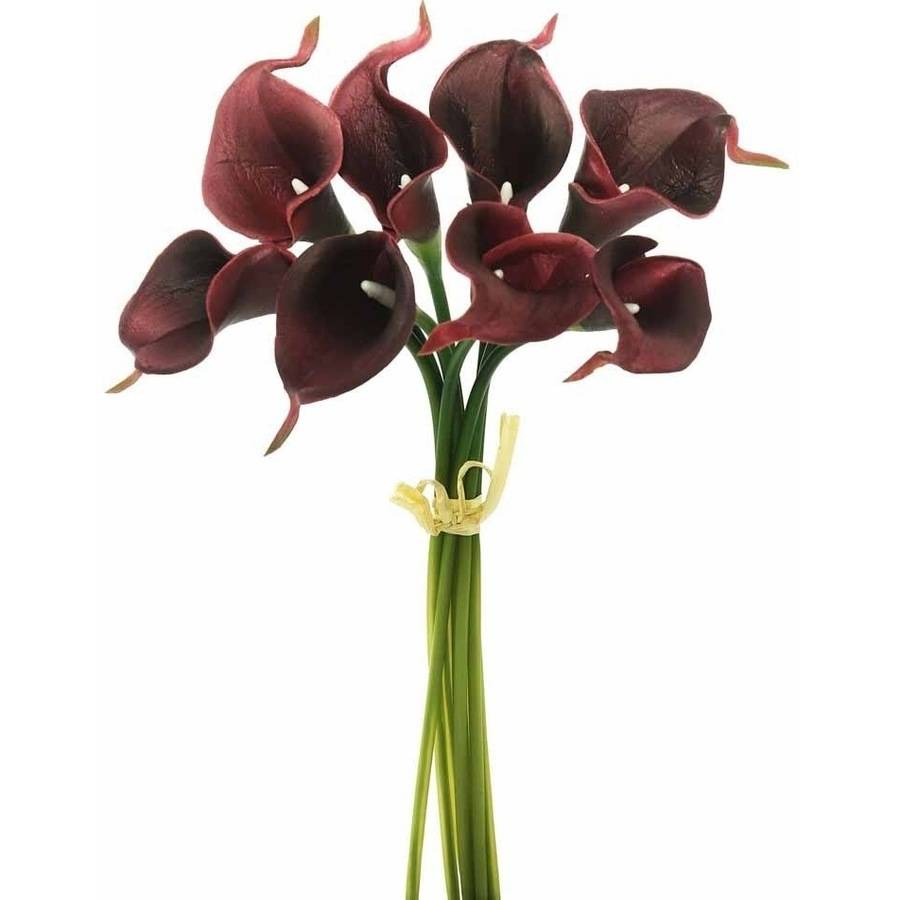 "Vickerman 14"" Artificial Burgundy Calla Lily Bundle Featuring 8 Beautiful Blooms"