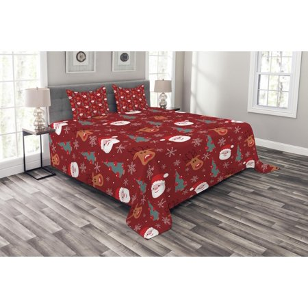 Red Bedspread Set, Smiling Cartoon Santa with Rudolph Tree and Snowflakes Merry Christmas Holiday, Decorative Quilted Coverlet Set with Pillow Shams Included, Red Multicolor, by Ambesonne