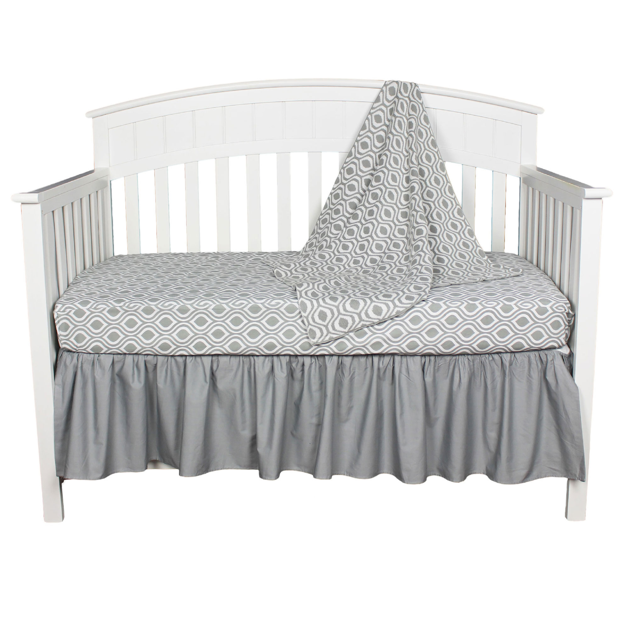 American Baby Company Crib Bedding Set - Grey and White Ogee - 3 Piece Baby Crib Bedding Set