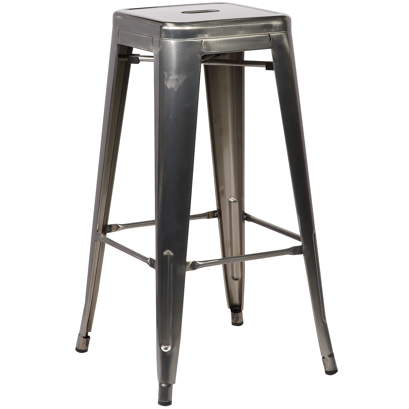 Poly and Bark Trattoria Bar Stool in Polished Gunmetal