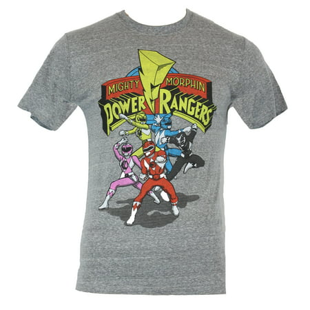 Mighty Morphin Power Ranger Mens T-Shirt - Cartoon Fight Poses Under Logo (Cartoon T Shirt Men)
