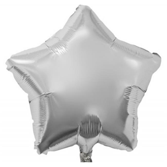Balloons and Weights 808 18 Inch Star Foil Mylar Balloons Silver 50 pc