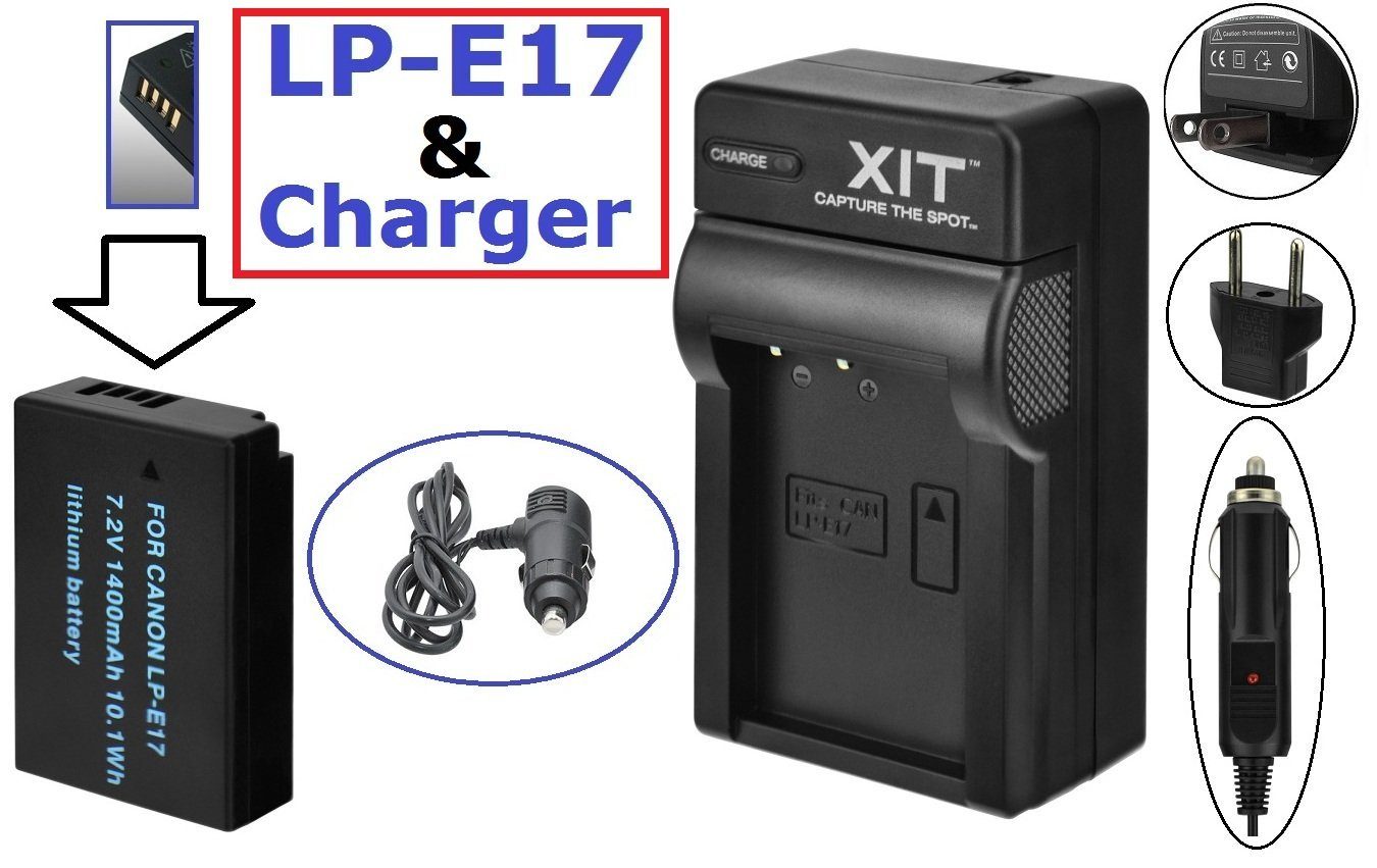 Li-Ion LP-E17 Battery And Dual 110//220V Charger For Canon EOS Rebel T6s T6i