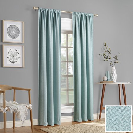 Sun Zero 2-pack Caya Embossed Geometric Blackout Rod Pocket Curtain Panel -
