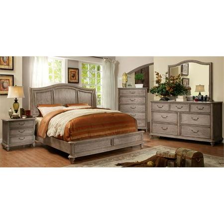 Furniture Of America Calpa 4 Piece Queen Bedroom Set In Rustic Gray