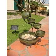 Smart Solar 23931R01 Ceramic Solar Cascading Fountain Glazed Green Bamboo Design