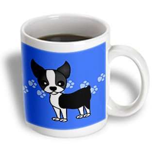 - 3dRose Cute Boston Terrier Blue Pawprint Background, Ceramic Mug, 11-ounce