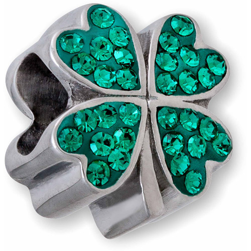 Connections from Hallmark Stainless Steel Green Crystal Four Leaf Clover Charm