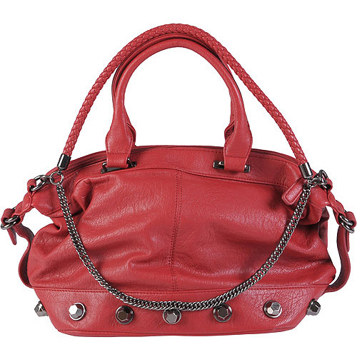 Brinley Co Women's Double Handle Chain Detail Satchel