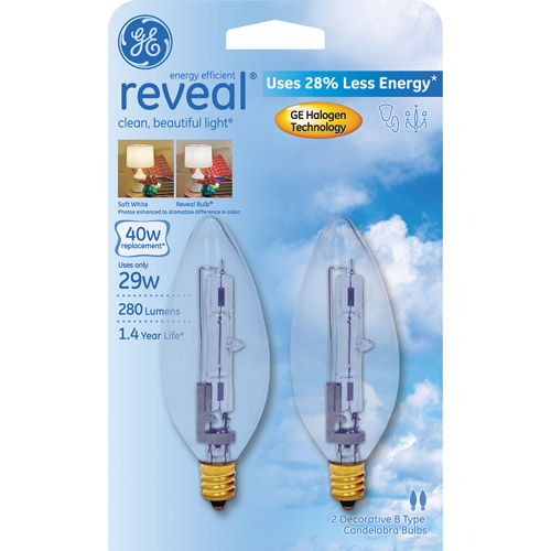 GE Reveal 40 watt Equivalent (uses 29 watts) Blunt TIp Decorative Halogen, 2 Pack