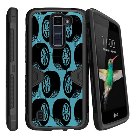 - LG K8 | Escape 3 Dual Layer Shock Resistant MAX DEFENSE Heavy Duty Case with Built In Kickstand - Tires Pattern