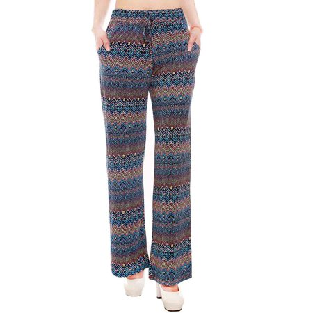 Womens Palazzo Pants High Waist Wide Leg Culottes Long Trousers Casual Pants (Lined Silk Trousers)